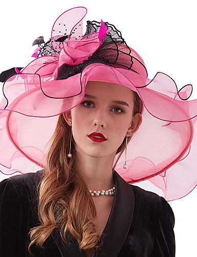 billige Hatte & Imponeringer-organza / Fjær / Nett Kentucky Derby Hat / fascinators / Hodepryd med Fjær / Blomst 1 Deler Bryllup / utendørs Hodeplagg