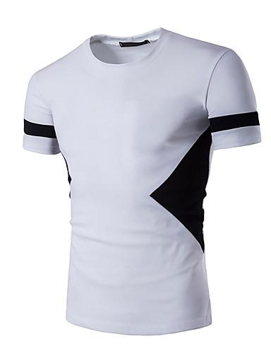 קולור בלוק צווארון עגול טישרט - בגדי ריקוד גברים לבן L