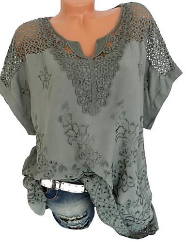 abordables Hauts pour Femme-Tee-shirt Grandes Tailles Femme, Couleur Pleine Dentelle Col en V Noir