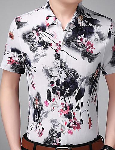 男性用 シャツ スリム フラワー