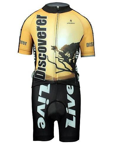 cheap Cycling Clothing-ILPALADINO Boys' Girls' Short Sleeve Cycling Jersey with Shorts - Black / Yellow Bike Clothing Suit Breathable Quick Dry Sweat-wicking Sports Lycra Fashion Mountain Bike MTB Road Bike Cycling / Kid's