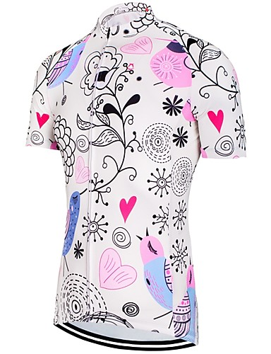 cheap Cycling Clothing-Women's Short Sleeve Cycling Jersey - Blue+Pink Floral Botanical Bike Jersey Top Reflective Strips Back Pocket Sports Spandex Mesh 100% Polyester Mountain Bike MTB Road Bike Cycling Clothing Apparel