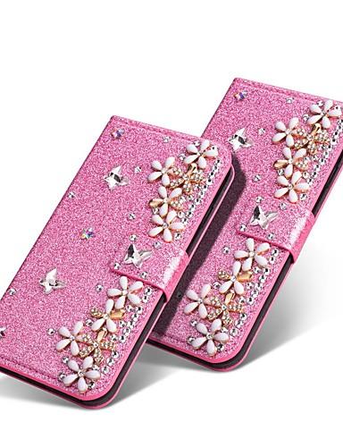 Capinha Para Samsung Galaxy J8 (2018) / J7 (2017) / J7 (2018) Carteira / Porta-Cartão / Com Strass Capa Proteção Completa Glitter Brilhante / Strass / Flor Rígida PU Leather