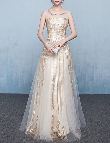 1920fa30a52 A-Line Jewel Neck Floor Length Taffeta   Tulle Dress with Beading   Sequin    Crystals by LAN TING Express