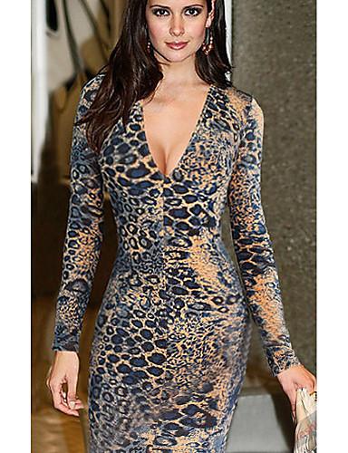 billige Kjoler-Dame Grunnleggende Kroppstett Kjole Kjole - Leopard, Trykt mønster Knelang