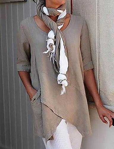 povoljno Ženske majice-Majica s rukavima Žene Jednobojni Ogroman Djetelina