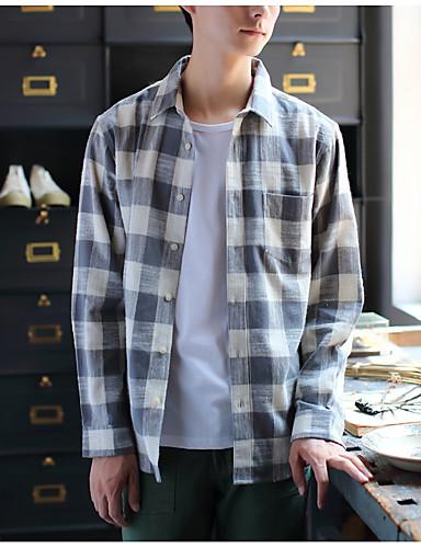 Pánské - Proužky Košile Bavlna Klasický límeček Štíhlý Černá XL