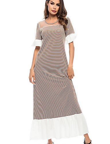 Women's Basic A Line Dress - Striped Print Green Red Light Brown L XL XXL