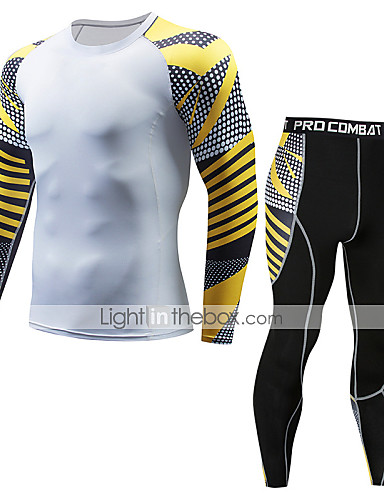 cheap Compression Clothing-Men's Compression Suit Thermal Underwear Set Long Sleeve Compression Base layer Pants T Shirt Plus Size Lightweight Breathable Quick Dry Soft Sweat-wicking Green / Yellow Black / Red Black / Yellow