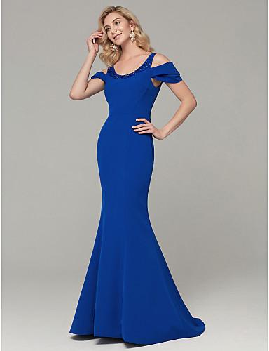 b65ab5798 Trompeta   Sirena Cuchara Larga Licra Evento Formal Vestido con Cuentas por  TS Couture®