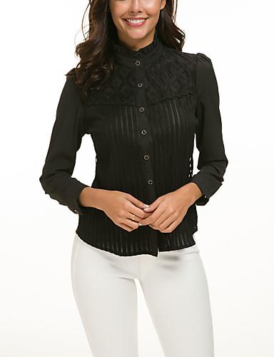 abordables Camisas y Camisetas para Mujer-Mujer Camisa, Cuello Camisero Delgado Un Color Blanco XXXXL