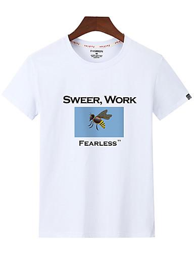 100% Vero T-shirt - Taglie Forti Per Uomo Tinta Unita - Alfabetico Rotonda - Cotone #07222133 A Tutti I Costi