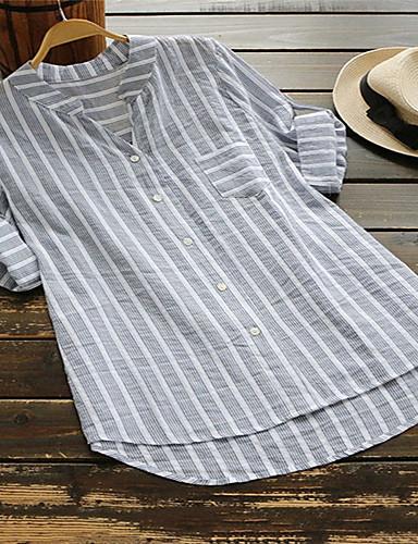 povoljno Majica-Majica Žene Prugasti uzorak V izrez Kolaž / Žakard Bež