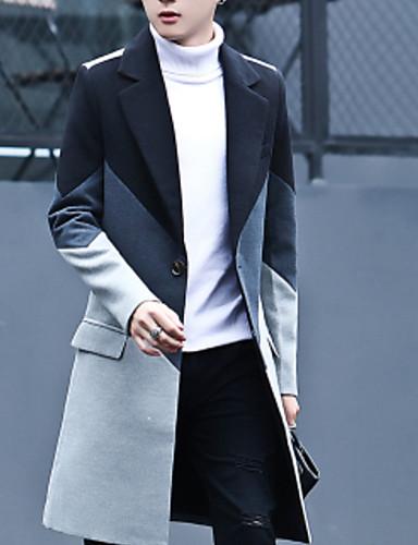 สำหรับผู้ชาย ทุกวัน พื้นฐาน ตก ยาว เสื้อโค้ท, สีพื้น ปกคอแบะของเสื้อแบบพึค แขนยาว เส้นใยสังเคราะห์ สีดำ / เทาอ่อน XL / XXL / XXXL