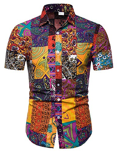 3b5458ba Men's Plus Size Cotton Shirt - Floral / Geometric / Color Block Print  Rainbow XXXL