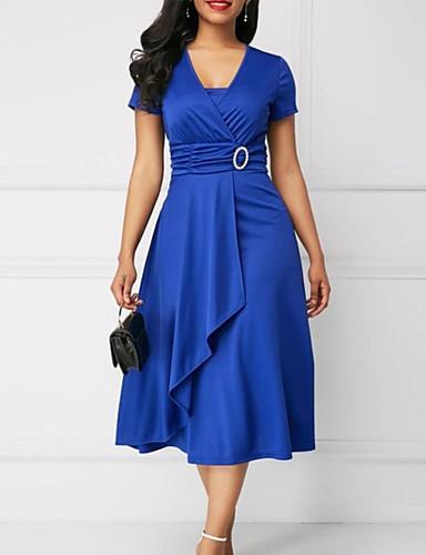 رخيصةأون 5/20-فستان نسائي قياس كبير عصري أنيق ميدي لون سادة