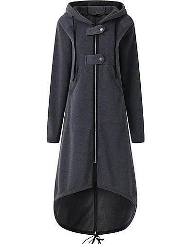 preiswerte Damen Überbekleidung-Damen Alltag Maxi Trench Coat, Solide Rundhalsausschnitt Langarm Polyester Dunkelgray / Purpur / Wein