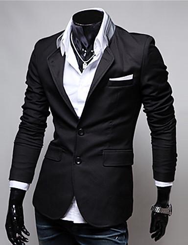 voordelige Herenblazers & kostuums-Heren Grote maten Blazer, Effen / Kleurenblok Opstaand Katoen / Polyester Zwart / Rood / Grijs / Slank
