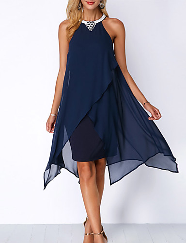cheap Women's Dresses-2019 New Arrival Dresses Women's Holiday Casual / Daily Slim A Line Swing Dress Elbise Vestidos Robe Femme Sequins Beaded Chiffon Halter Neck Navy Blue Purple XL XXL XXXL