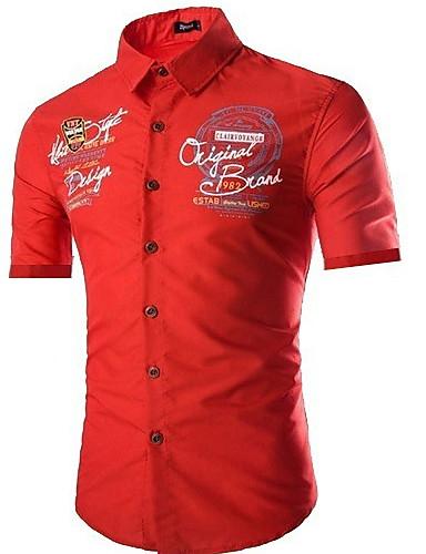levne Pánské košile-Pánské - Geometrický Košile Štíhlý