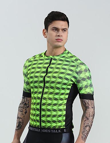 cheap Cycling Clothing-BOESTALK Men's Short Sleeve Cycling Jersey - Mint Green Green Green / Yellow Plaid / Checkered Bike Shirt Jersey Compression Clothing Sports Jersey Milk Fiber Mountain Bike MTB Road Bike Cycling