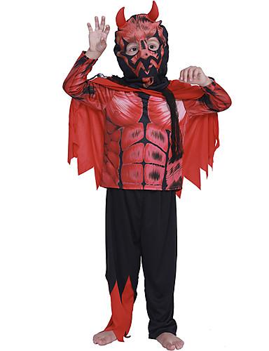 halpa Cosplay ja rooliasut-Enkeli ja paholainen Cosplay-Asut Lasten Poikien Asusteet Halloween Halloween Karnevaali Masquerade Festivaali / loma Polyesteria Punainen+musta Karnevaalipuvut Kuvio
