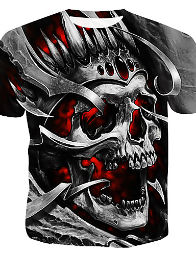 cheap Men's Tees & Tank Tops-Men's Cotton T-shirt - Color Block / 3D / Skull Print Round Neck Gray XL
