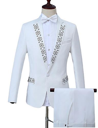 abordables Blazers & Costumes Homme-Homme Travail Business Normal costumes, Géométrique Col Rond Claudine Manches Longues Polyester Blanc XXL / XXXL / XXXXL