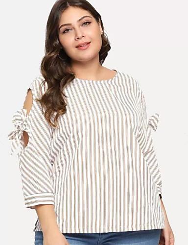 T-shirt Per donna A strisce Bianco XXL / Taglia piccola