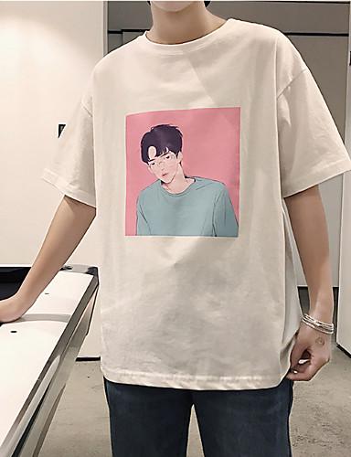 男性用 Tシャツ ラウンドネック ポートレート ホワイト M