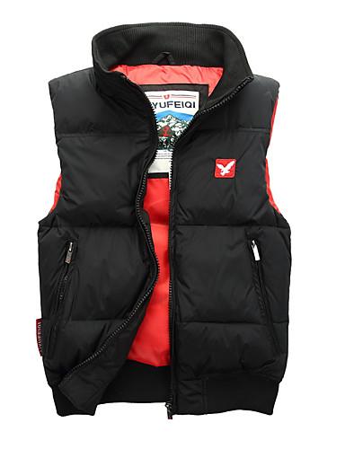 voordelige Heren donsjassen & parka's-Heren Dagelijks Standaard Effen Normaal Vest, Polyester Mouwloos Coltrui Rood / Grijs / Marine Blauw L / XL / XXL
