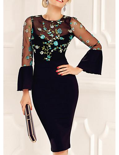 Women's Elegant Sheath Dress - Floral Mesh Black M L
