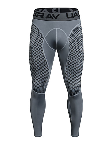 cheap Activewear-UABRAV Men's Compression Pants Running Tights Black Grey Sports Checkered / Gingham Elastane Compression Clothing Leggings Running Fitness Workout Activewear Breathable Quick Dry Sweat-wicking High