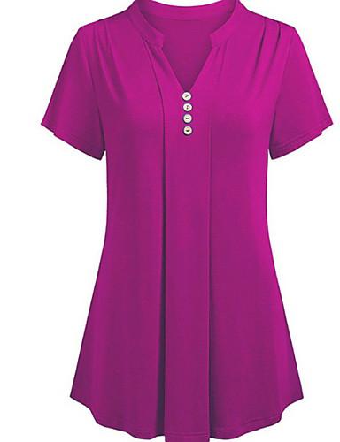 billige Dametopper-V-hals Store størrelser Skjorte Dame - Ensfarget Grunnleggende Svart / Sommer