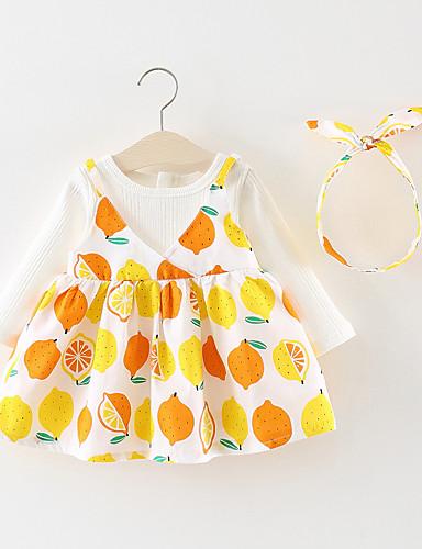 Μωρό Κοριτσίστικα Βασικό Φρούτα Patchwork Μακρυμάνικο Πάνω από το Γόνατο Βαμβάκι Φόρεμα Λευκό