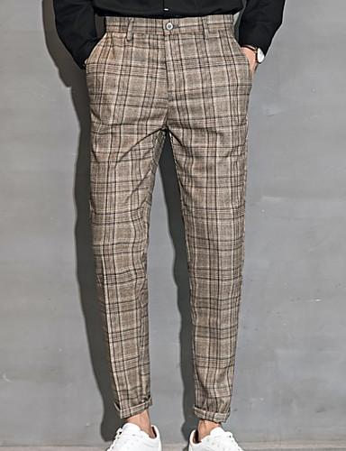 男性用 ストリートファッション チノパン パンツ - 千鳥格子 グレー
