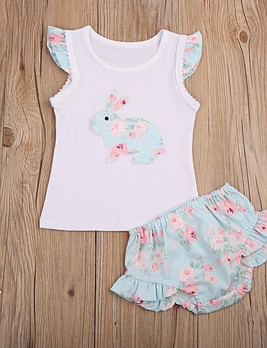 Dítě Dívčí Aktivní Květinový Krátký rukáv Standardní Sady oblečení Žlutá / Toddler