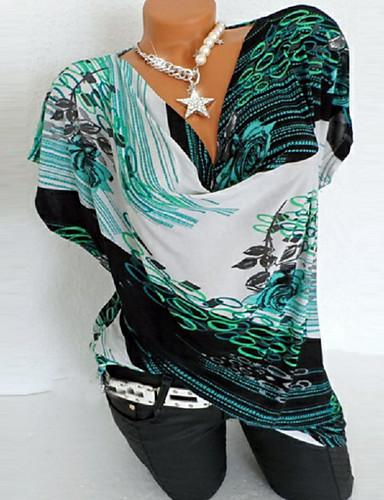 abordables Hauts pour Femmes-Tee-shirt Grandes Tailles Femme, Géométrique - Coton Imprimé Vert
