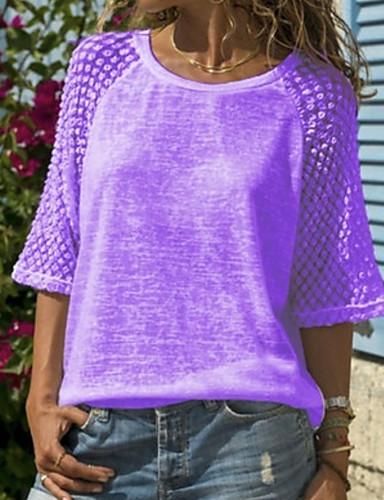 billige Dametopper-Store størrelser T-skjorte Dame - Ensfarget, Blonde / Lapper Hvit XXXL