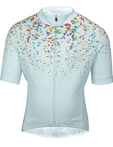 cheap Cycling Clothing-ILPALADINO Boys' Girls' Short Sleeve Cycling Jersey - White Floral Botanical Bike Jersey Top Breathable Quick Dry Sweat-wicking Sports Mountain Bike MTB Road Bike Cycling Clothing Apparel / Kid's