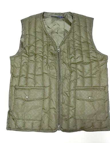 voordelige Heren donsjassen & parka's-Heren Dagelijks Standaard Effen Normaal Vest, Polyester Mouwloos Winter Ronde hals blauw / Klaver XL / XXL