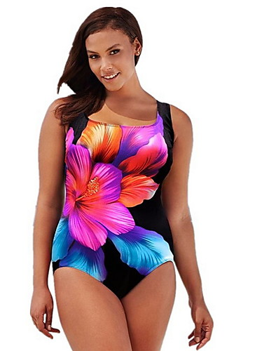 8fb0037292708 Women s Plus Size Basic Fuchsia Cheeky One-piece Swimwear - Floral Print  XXL XXXL XXXXL Fuchsia
