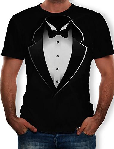 Miesten Pyöreä kaula-aukko Painettu 3D T-paita Musta