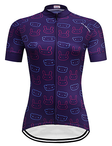 cheap Cycling Clothing-TELEYI Women's Short Sleeve Cycling Jersey - Dark Purple Cartoon Plus Size Bike Jersey Top Breathable Quick Dry Sports Terylene Mountain Bike MTB Road Bike Cycling Clothing Apparel / Micro-elastic