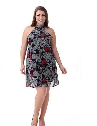 voordelige Grote maten jurken-Dames Grote maten Standaard Schede Jurk - Geometrisch Halter Tot de knie