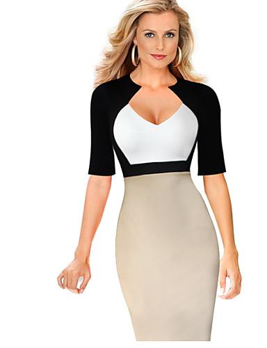 db5f1352b73 Γυναικεία Κομψό Θήκη Φόρεμα - Συνδυασμός Χρωμάτων, Patchwork Ως το Γόνατο  Βαθύ V
