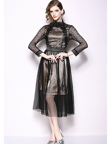 5d374ac7e1f9db A-Line Jewel Neck Tea Length Lace Cocktail Party Dress with Lace Insert by  LAN TING Express