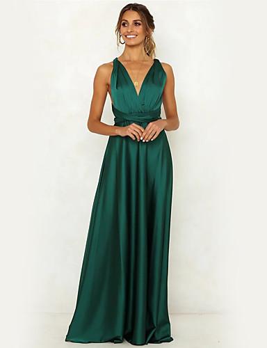 Χαμηλού Κόστους Γυναικεία Φορέματα-Γυναικεία Κομψό Θήκη Swing Φόρεμα -  Μονόχρωμο Μακρύ d559378f187