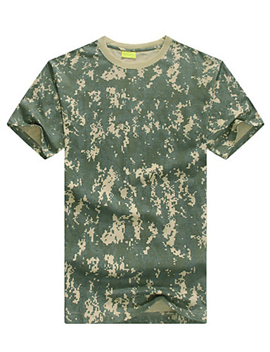 cheap Outdoor Clothing-Men's Camo Hiking Tee shirt Short Sleeve Outdoor Lightweight Breathable Quick Dry Sweat-wicking Tee / T-shirt Top Summer Cotton Crew Neck Green / Yellow Green / Black Camouflage Hunting Camping