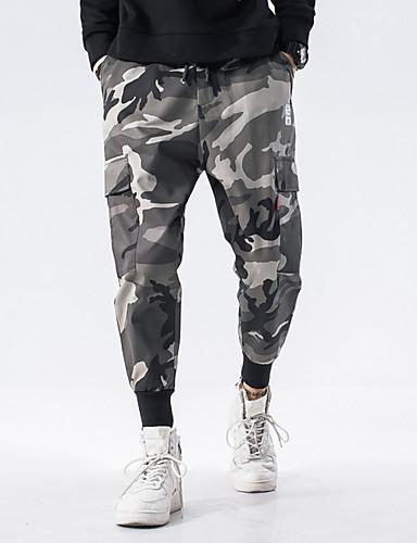 男性用 ストリートファッション チノパン パンツ - カモフラージュ グリーン